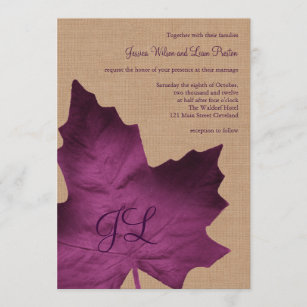 Purple Burlap Monogrammed Wedding Invitation