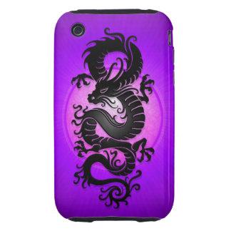 Purple Burst Chinese Dragon iPhone 3 Tough Case