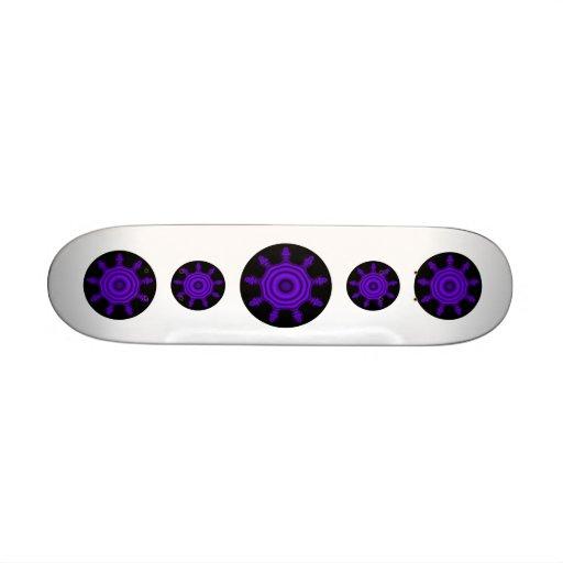 Purple Burst. Fractal Art. Purple and Black. Skate Board Deck