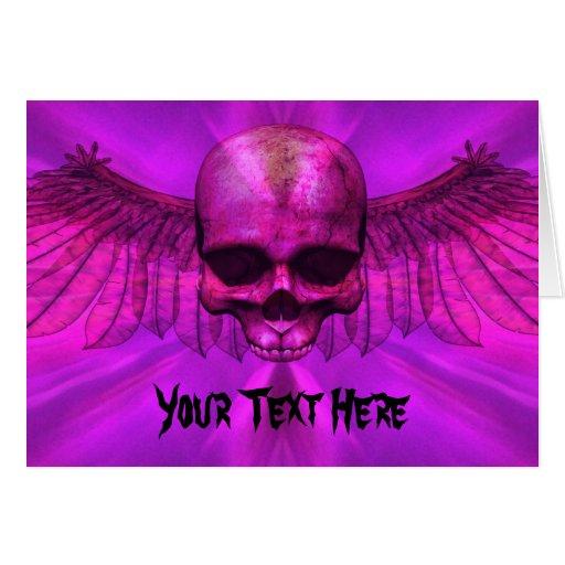 Purple Burst Winged Skull Card