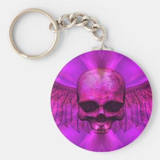 Purple Burst Winged Skull Key Ring