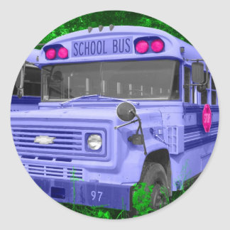 Purple Bus Classic Round Sticker