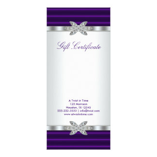Purple Business Gift Certificate Gift Card 10 Cm X 23 Cm Rack Card