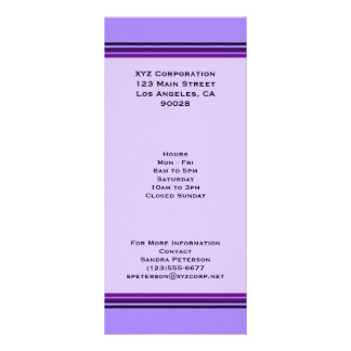 Purple Business Stripes Customised Rack Card