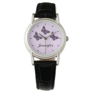 Purple Butterflies And Custom Name Watch