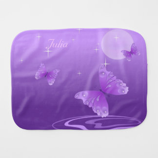 Purple Butterflies Baby Burp Cloth