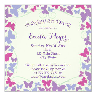 Purple Butterflies Baby Shower Invitation