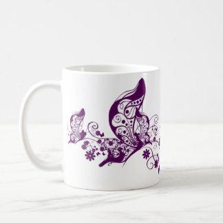 Purple Butterflies Basic White Mug