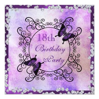 Purple Butterflies & Diamonds 18th Birthday 13 Cm X 13 Cm Square Invitation Card