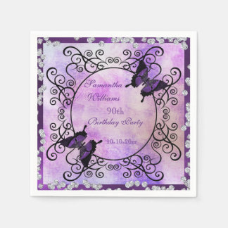 Purple Butterflies & Diamonds 90th Birthday Paper Napkins