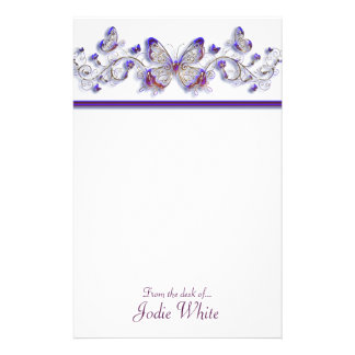 Purple Butterflies - From the desk of.. Stationery