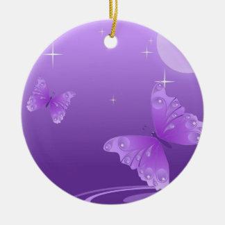 Purple Butterflies in the Sun Round Ceramic Decoration
