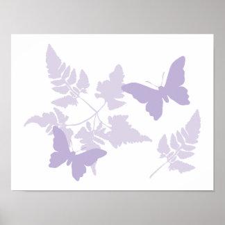 Purple Butterflies Lavender Ferns Poster