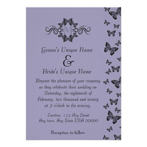 Purple Butterflies Monogram Wedding Announcements