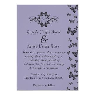 "Purple Butterflies Monogram Wedding 5"" X 7"" Invitation Card"