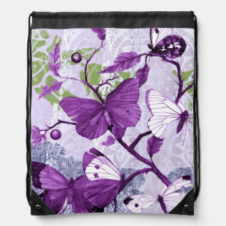 Purple Butterflies on a Branch American MoJo Drawstring Bags