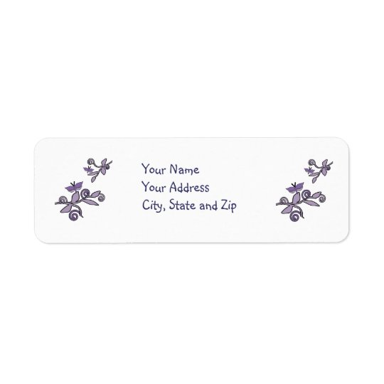 Purple butterflies on branches address label