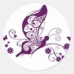 Purple Butterflies Round Sticker