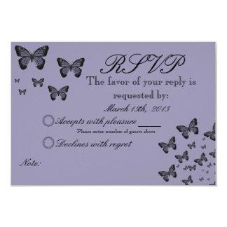 Purple Butterflies RSVP 9 Cm X 13 Cm Invitation Card