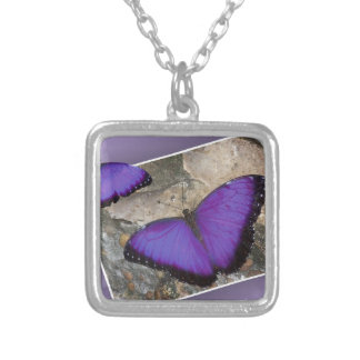 Purple Butterflies Silver Plated Necklace
