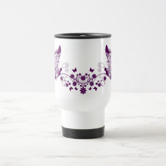 Purple Butterflies Stainless Steel Travel Mug
