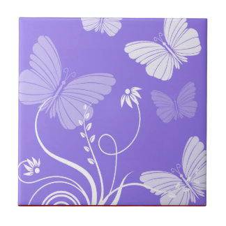 Purple butterflies Tile