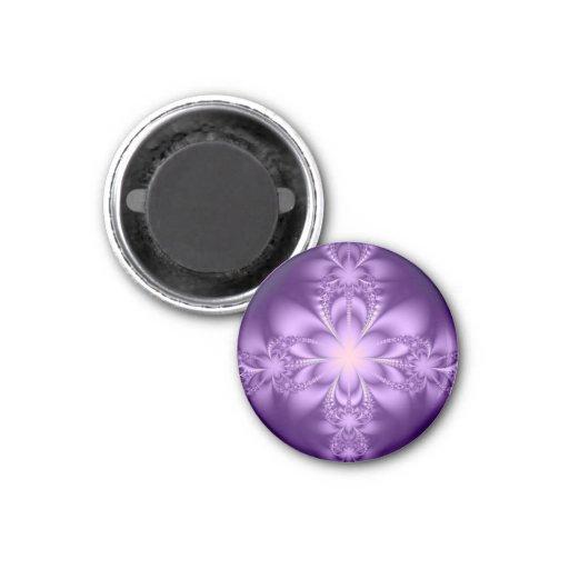 Purple butterflower 3 cm round magnet