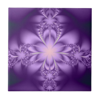 Purple butterflower small square tile