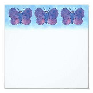 Purple Butterfly. 13 Cm X 13 Cm Square Invitation Card