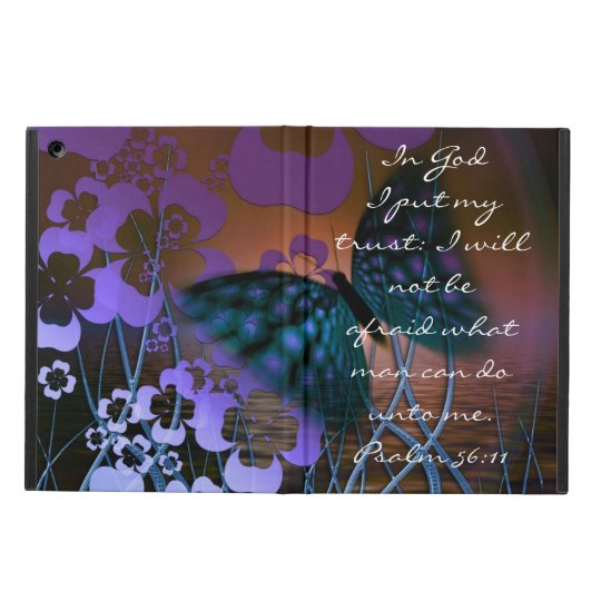 Purple butterfly and flowers bible verse Psalm iPad