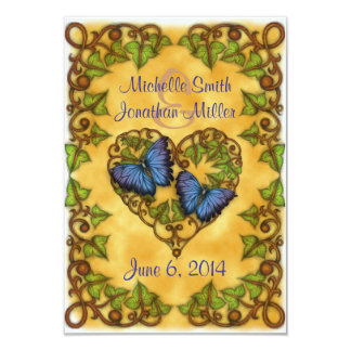Purple Butterfly and Ivy Heart RSVP Card 9 Cm X 13 Cm Invitation Card