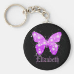 Purple butterfly and stars personalised with name basic round button key ring