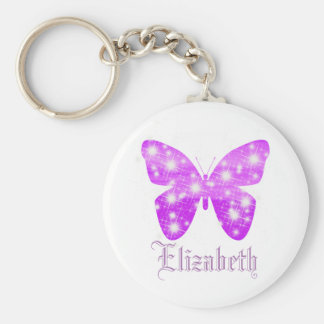 Purple butterfly and stars personalized with name basic round button key ring
