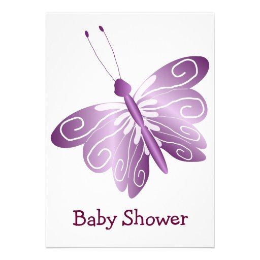 purple butterfly baby shower 13 cm x 18 cm invitation card zazzle
