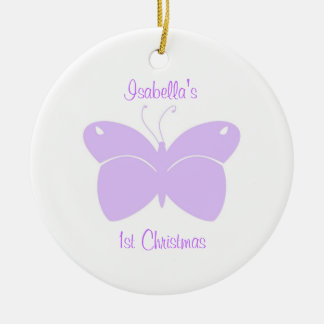Purple Butterfly Baby's 1st Christmas Ornament