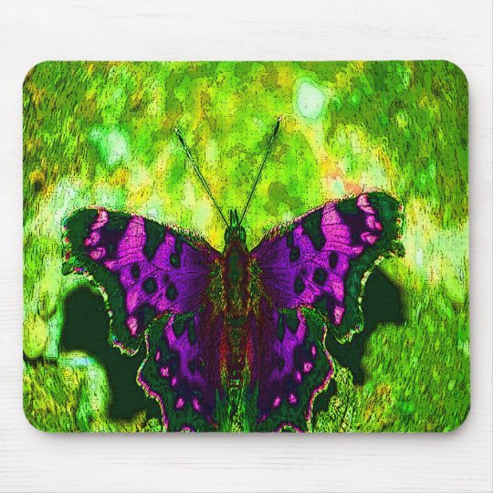 Purple Butterfly Background on Lime Green Leaves Mouse Pad