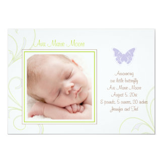 Purple Butterfly Birth Announcement