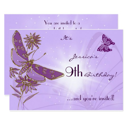 Purple Butterfly Birthday RSVP Invitation Card