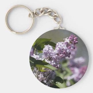 Purple Butterfly Bush Basic Round Button Key Ring