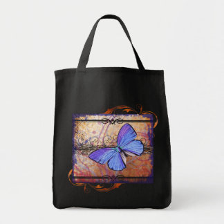 Purple Butterfly Collage Grocery Tote Bag