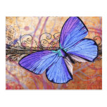 Purple Butterfly Collage Post Cards