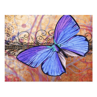 Purple Butterfly Collage Postcard
