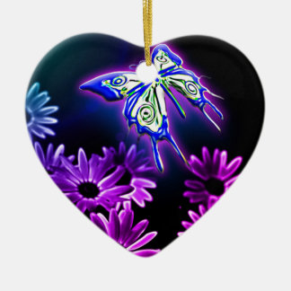 Purple Butterfly Daisy Christmas Ornament