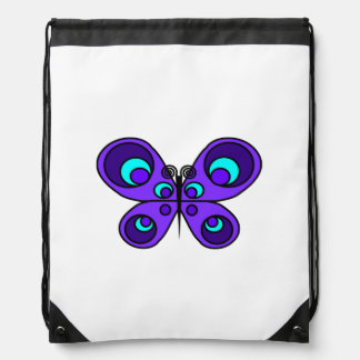 Purple Butterfly Drawstring Backpack