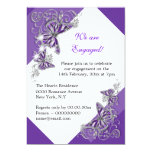 Purple butterfly engagement wedding anniversary invitation