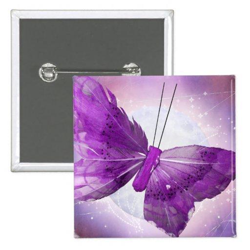Purple Butterfly Fantasy Moon Designs Button