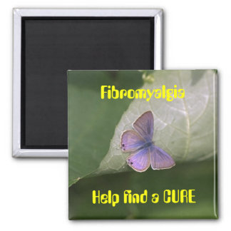 purple butterfly, Fibromyalgia Help find a CURE Square Magnet