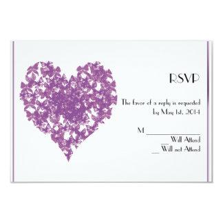 Purple Butterfly Heart Response Card