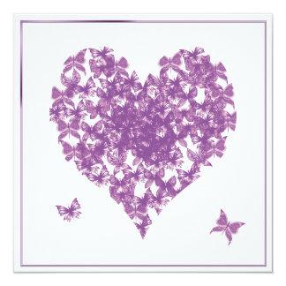 Purple Butterfly Heart Wedding Invitation