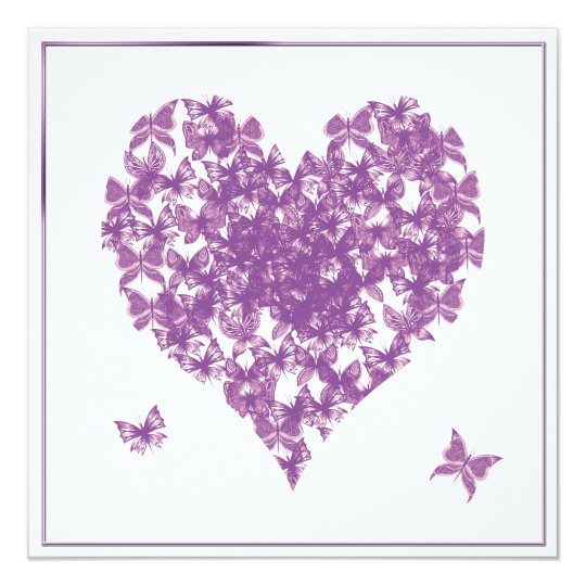 Purple Butterfly Heart Wedding Invitation